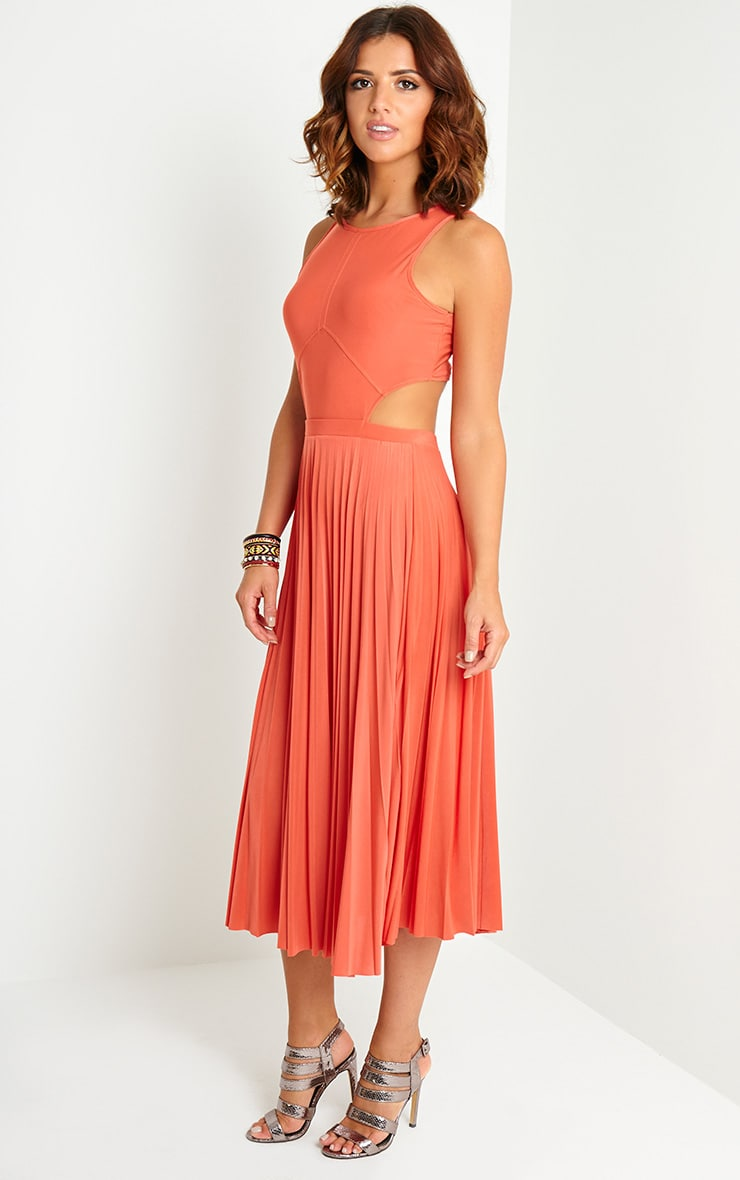 Ebony Orange Cut Out Pleated Midi Dress 3