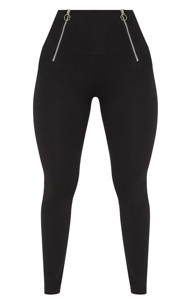 Black Ring Pull Zip Detail Legging 3