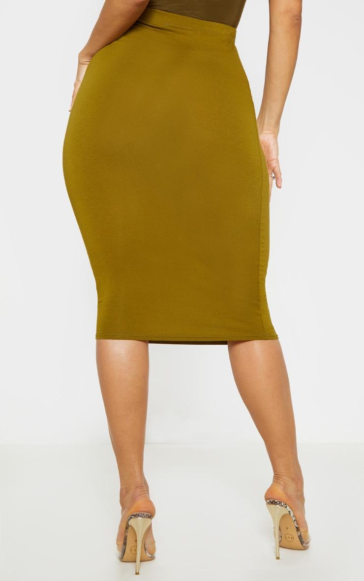 Basic Pale Olive Midi Skirt 4