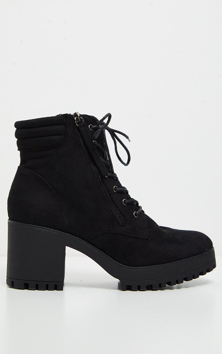Black Lace Up Side Zip Chunky Boot 3