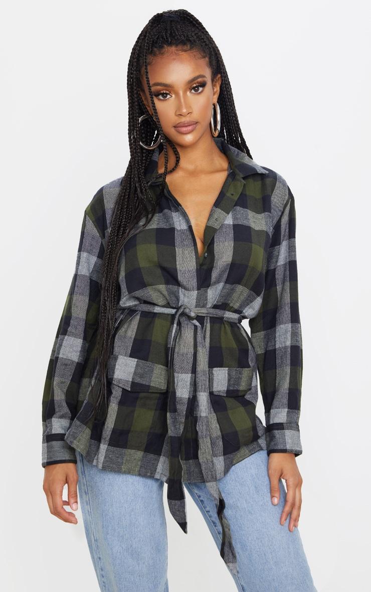 Khaki Check Belted Oversized Shirt 1