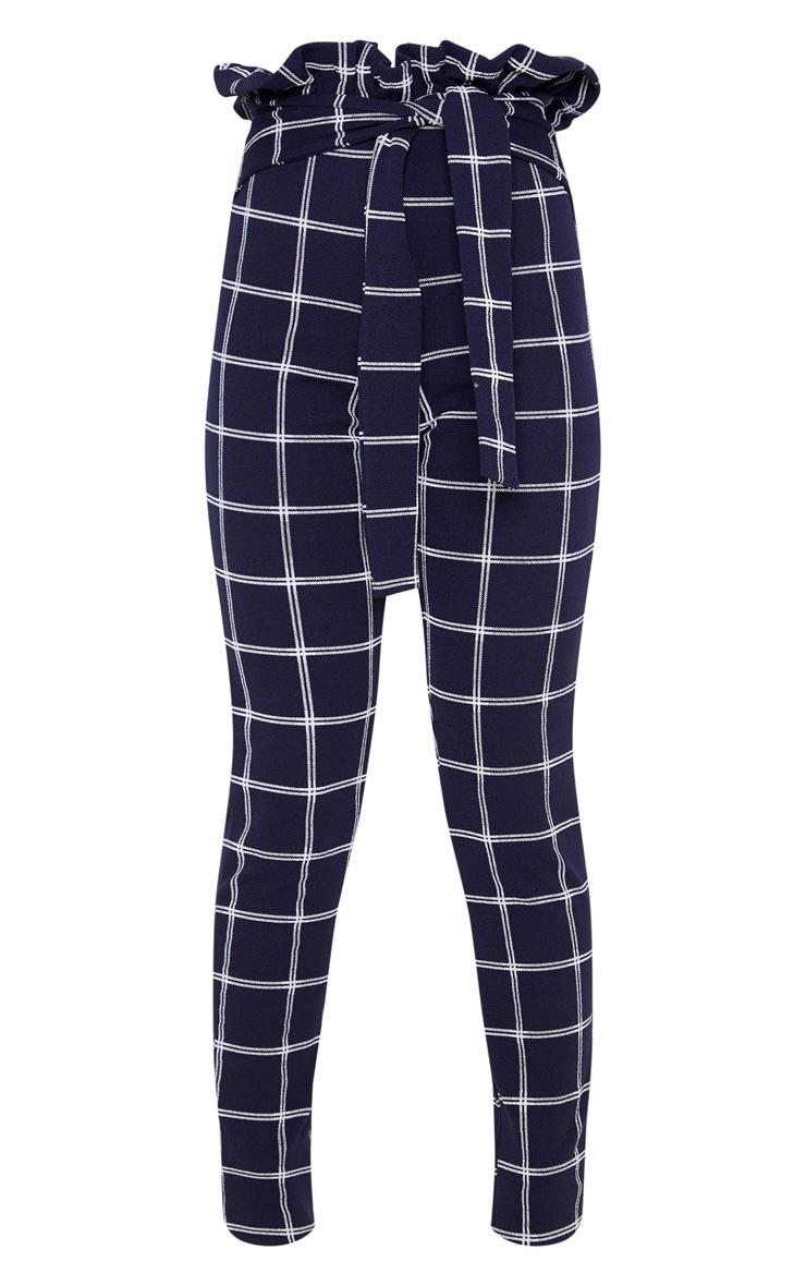 Navy Check Paperbag Skinny Pants 3