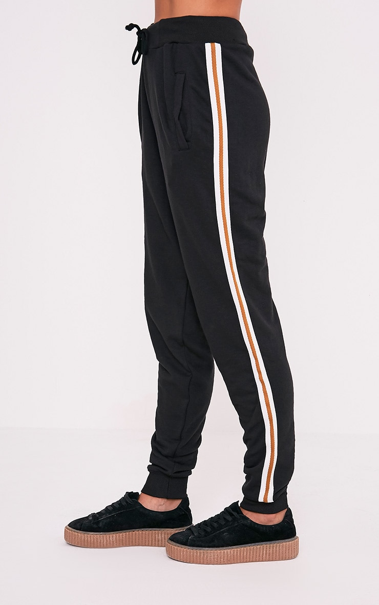 Black Side Stripe Track Pants 4