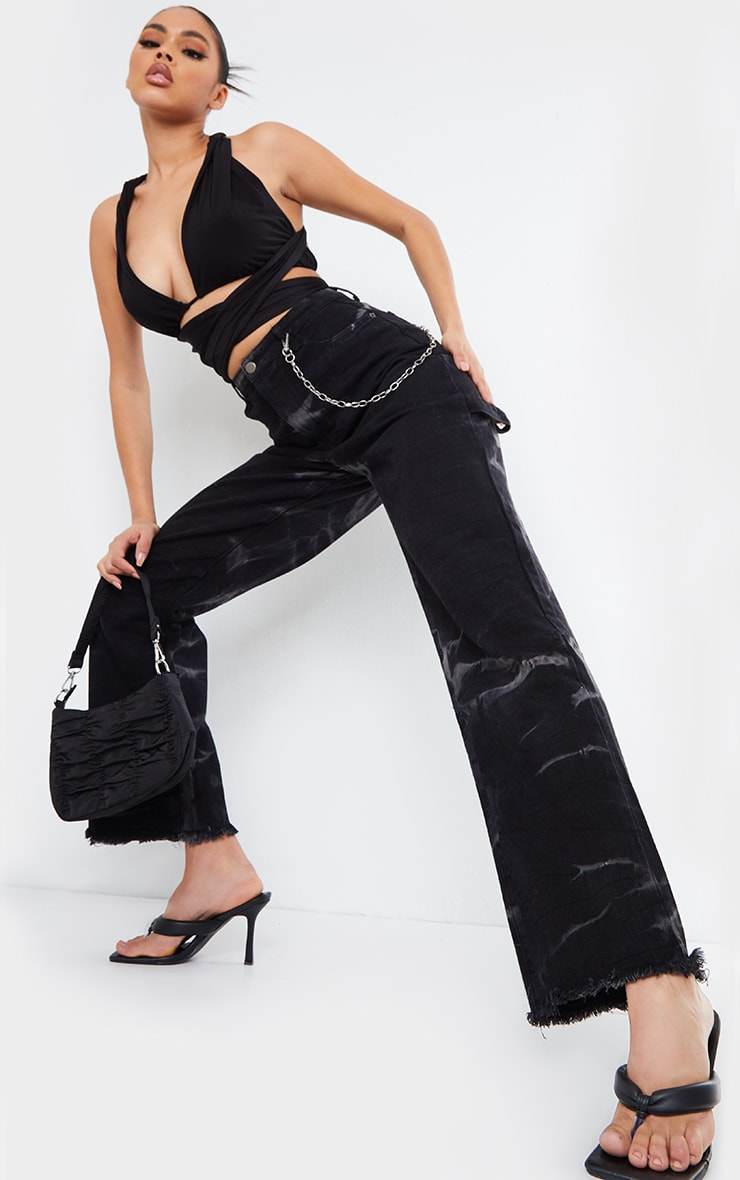 Black Slinky Halterneck Tie Strap Crop Top 3