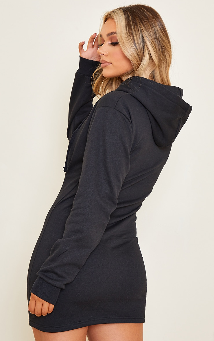 Black Pleated Hoodie Sweater Dress 2
