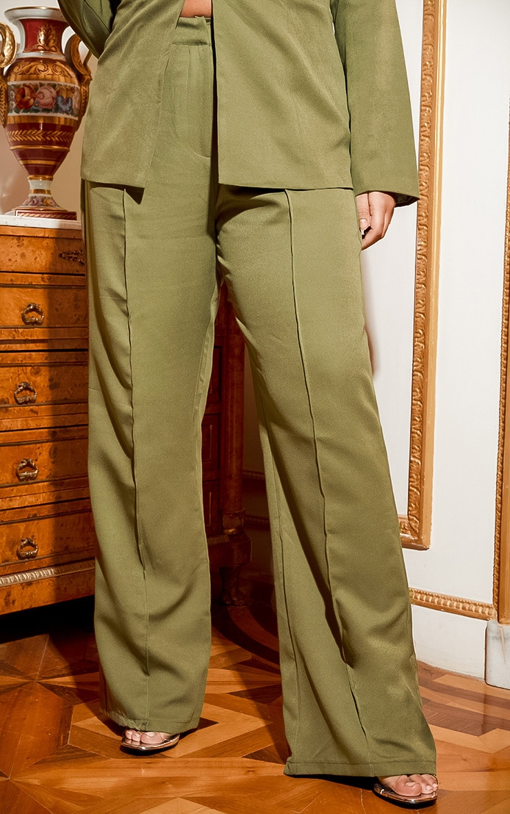 Plus Khaki Wide Leg Pants 3