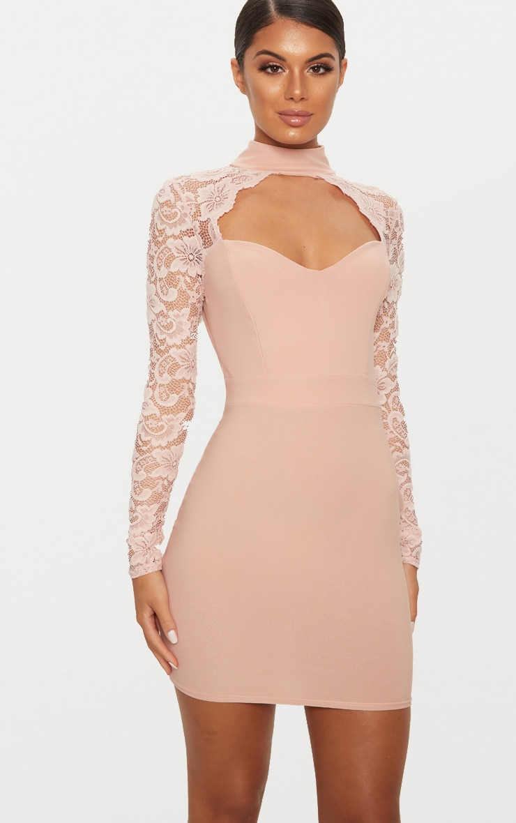 712d8ae6e14 Dusty Pink Lace Insert Long Sleeve Bodycon Dress image 1