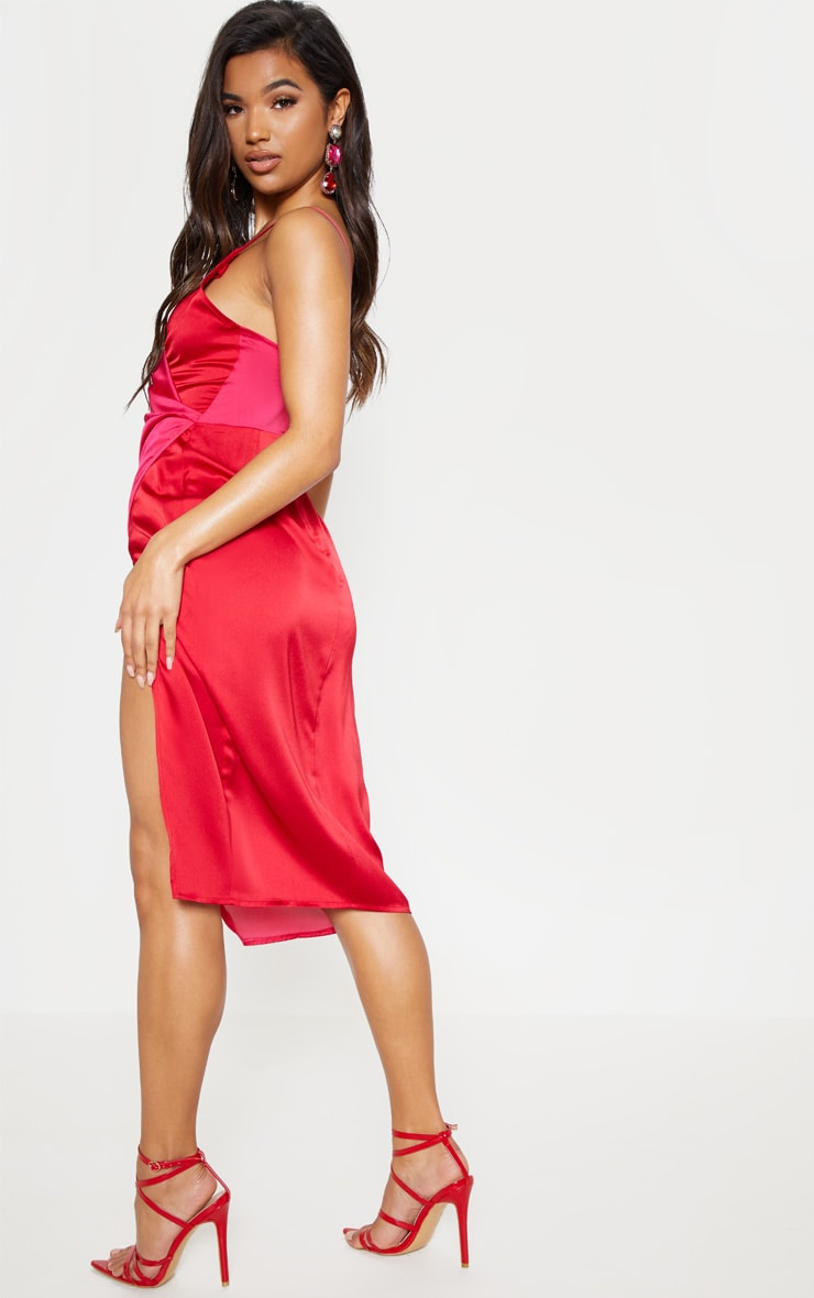 Red Colour Block Satin Wrap Detail Midi Dress 3