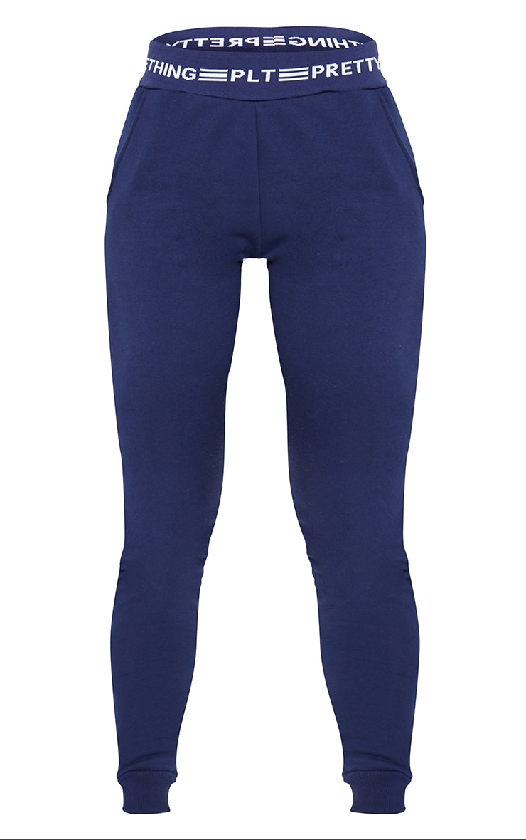 PRETTYLITTLETHING - Jogging bleu marine resserré à coutures contrastantes 6