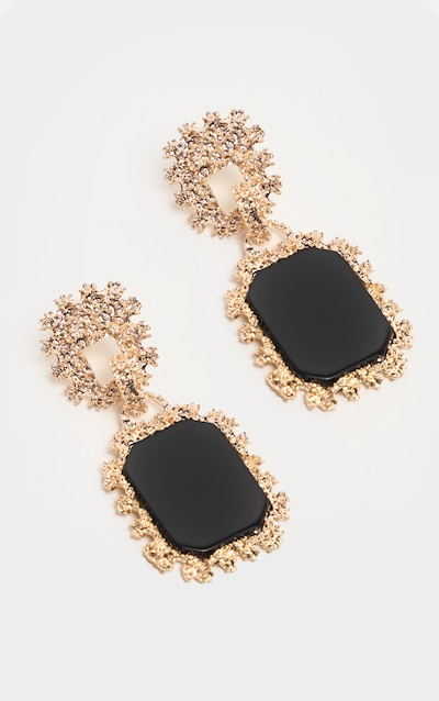 Black Stone Gold Textured Door Knocker Earrings