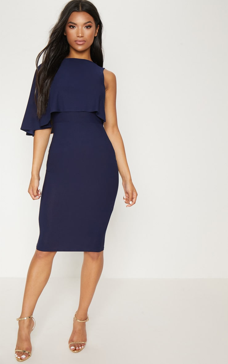 Navy One Shoulder Cape Detail Midi Dress 1