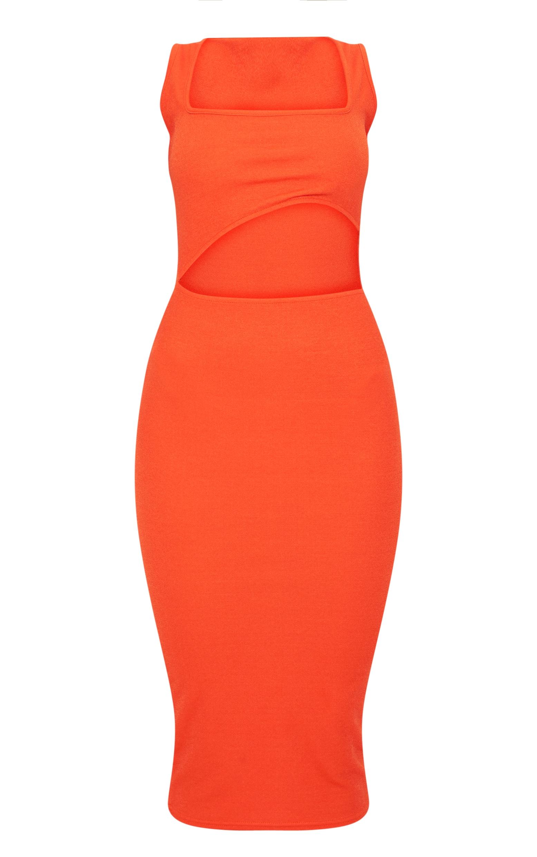 Bright Orange Square Neck Cut Out Midi Dress 3