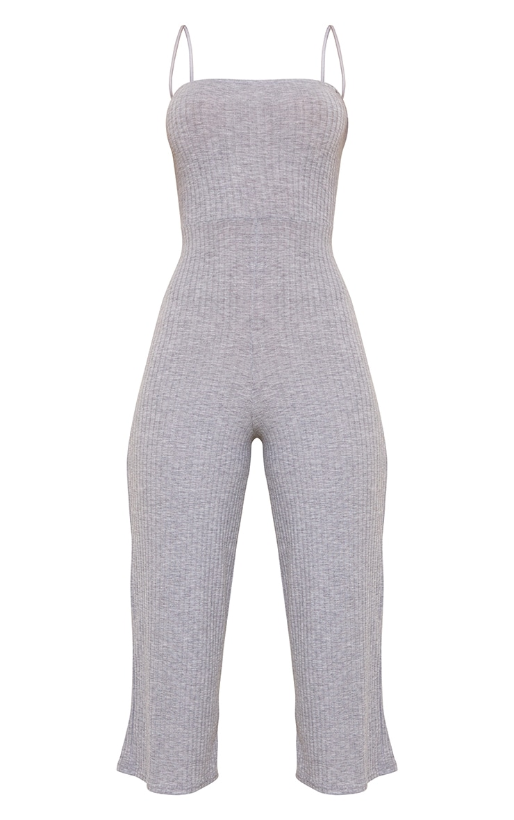 Grey Marl Rib Strappy Straight Neck Culotte Jumpsuit 5