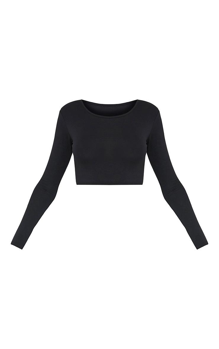 Basic Jersey Black Long Sleeve Crop Top 3