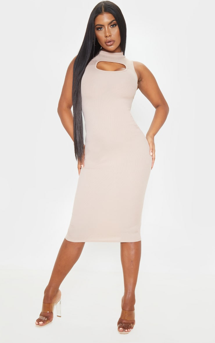 Stone High Neck Cut Out Midi Dress 1