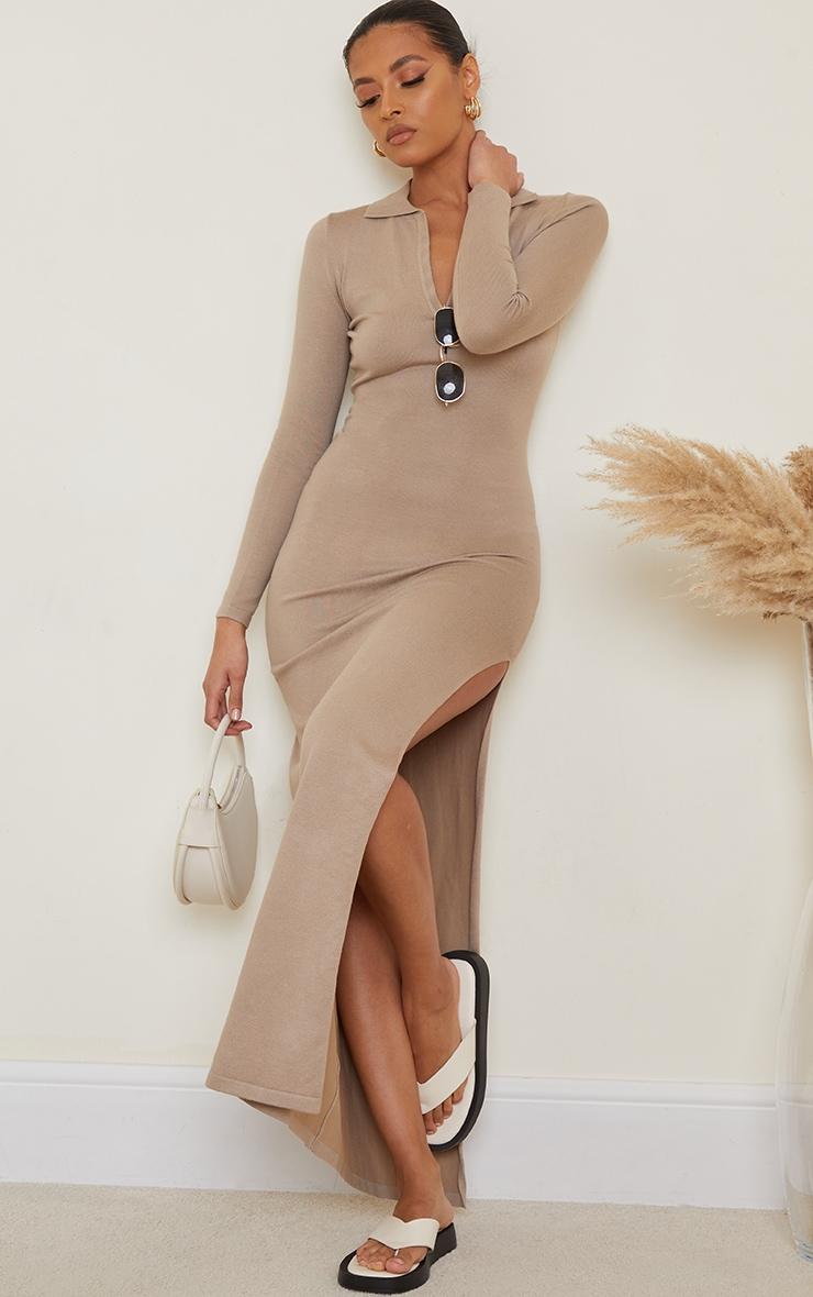 Stone Collar Detail Maxi Side Split Knitted Dress 3