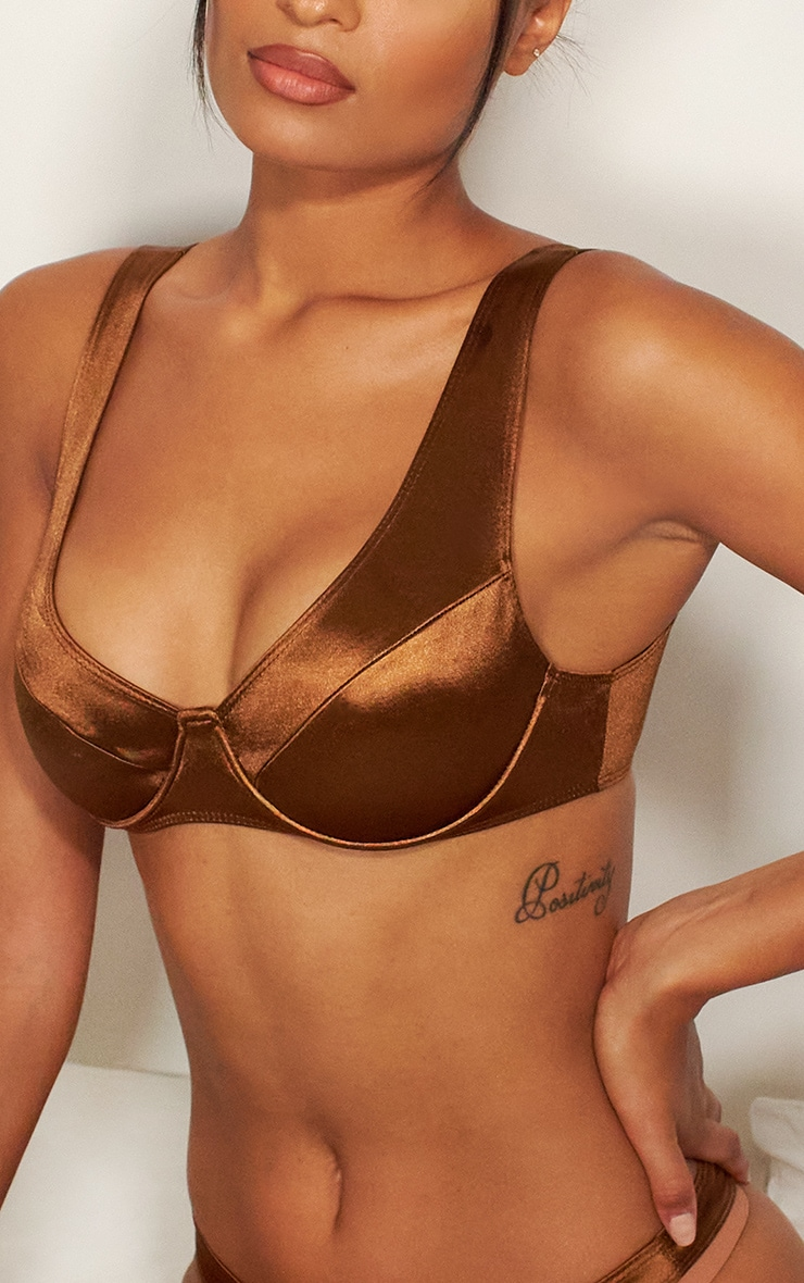 Chocolate Satin Underwired Panelled Bra 4