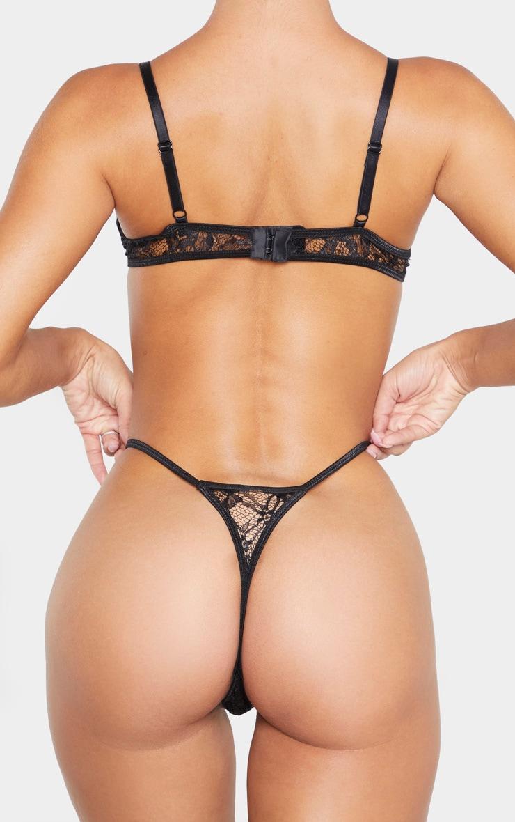 Black Eyelash Lace Strappy Thong 3