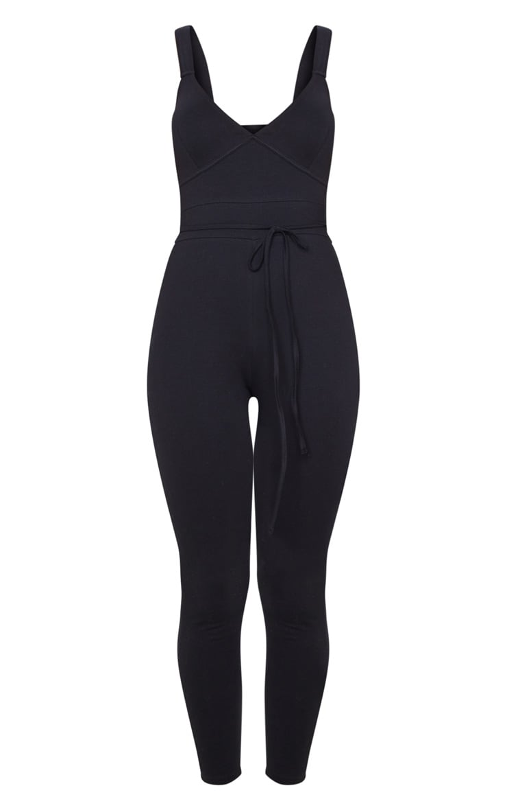 Black Binding Tie Waist Jumpsuit 3