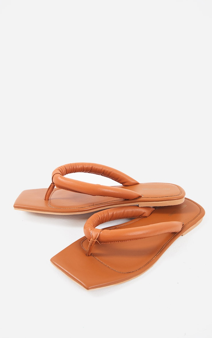 Tan Wide Fit Real Leather Padded Strap Square Toe Flip Flops 4
