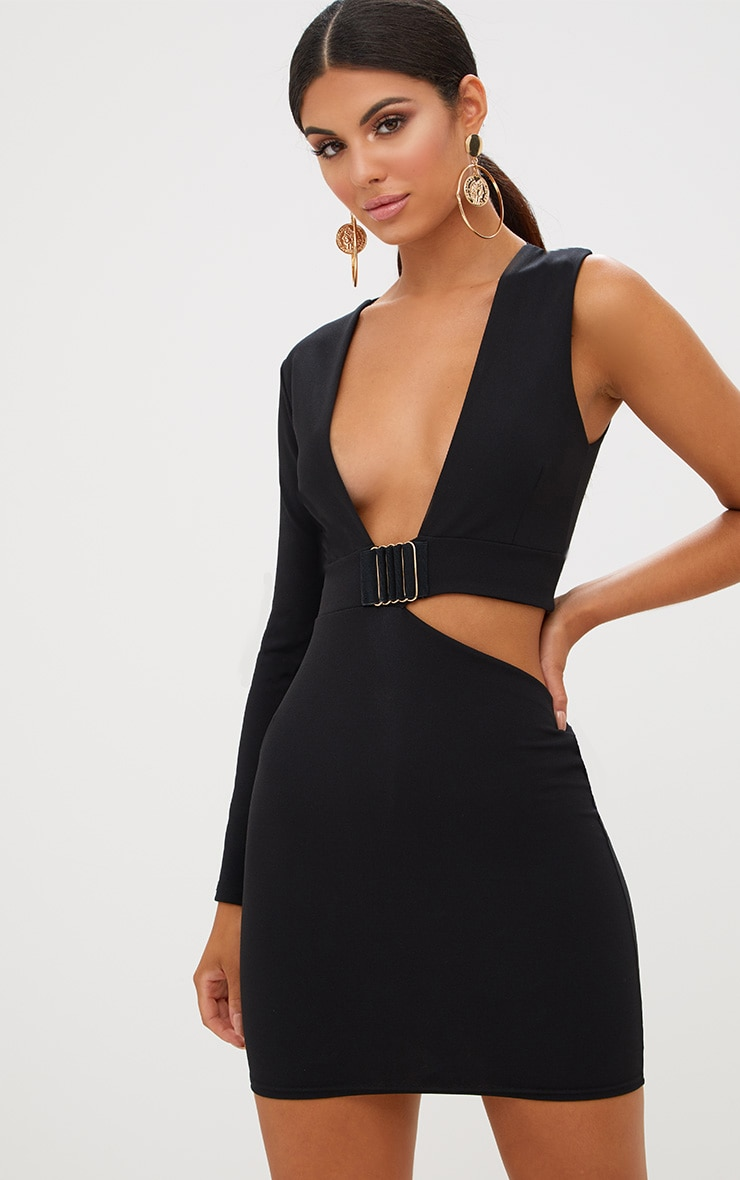 Black Cut Out Trim Detail Asymmetric Bodycon Dress 2