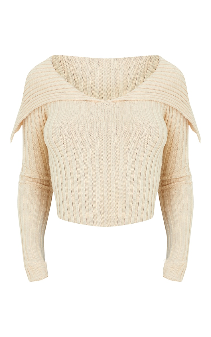 Stone Off Shoulder Collar Detail Ribbed Sweater 5