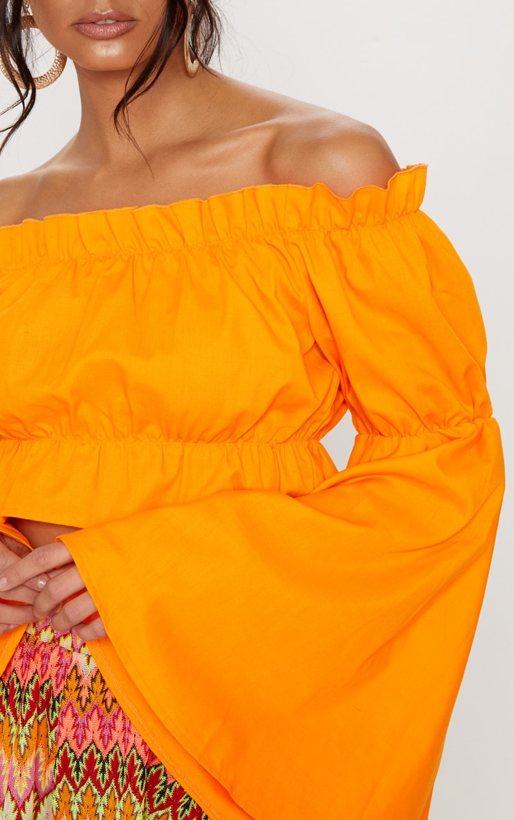 Orange Ruched Bardot Flare Sleeve Crop Top 5