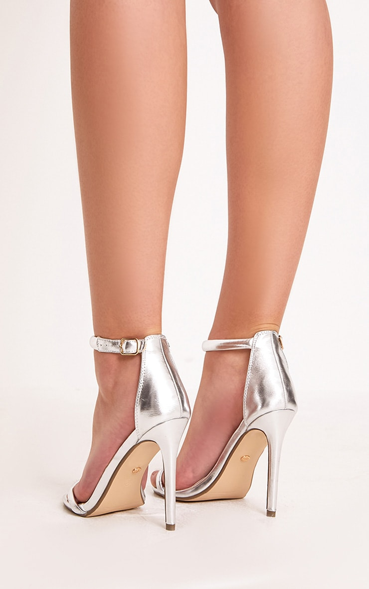 Ruby Silver Square Toe Strappy Heels 4