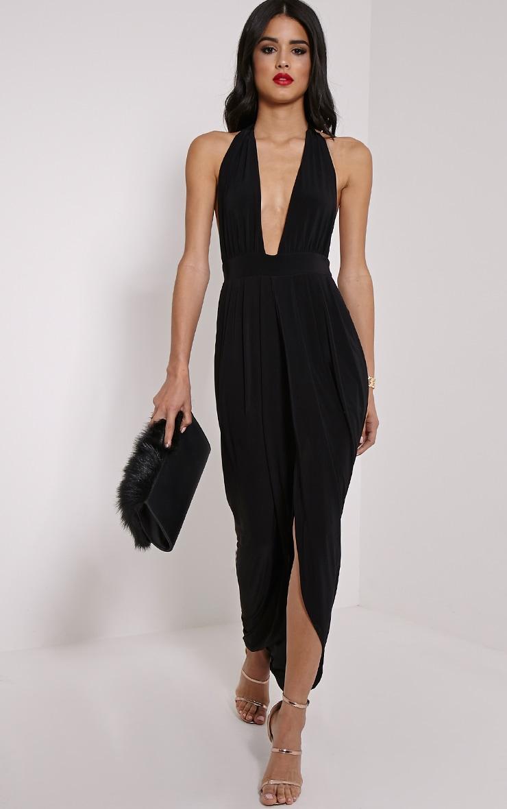 Biba Black Halterneck Slinky Maxi Dress 3
