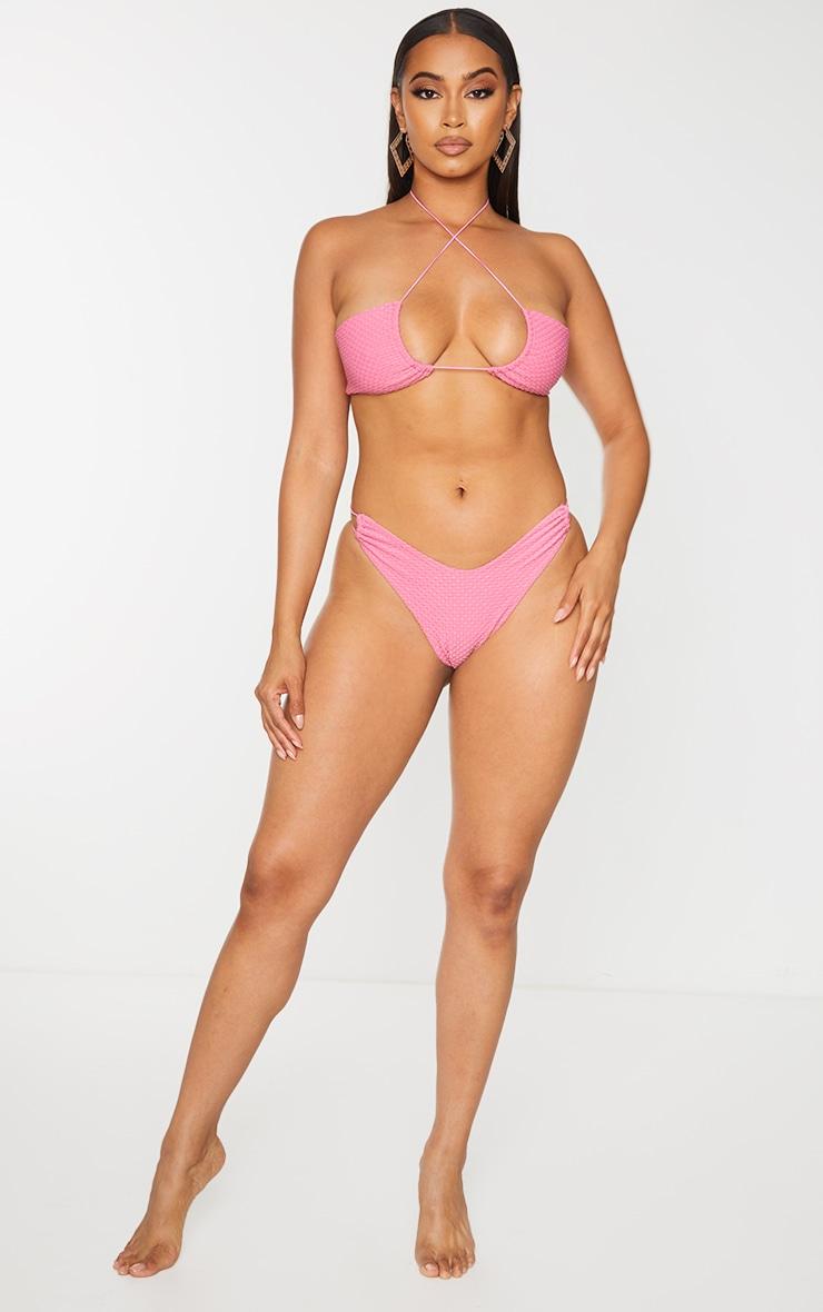 Pink Waffle Texture Halterneck Bikini Top 3