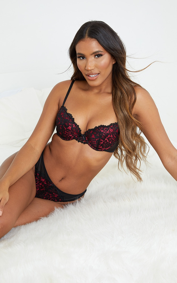 Red Ann Summers Contrast Lace Plunge Bra 1