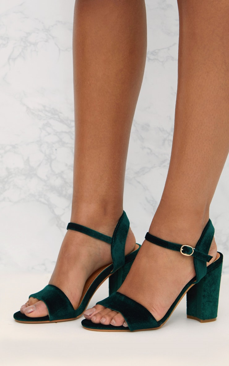 Green Velvet Mid Block Heeled Sandals  4