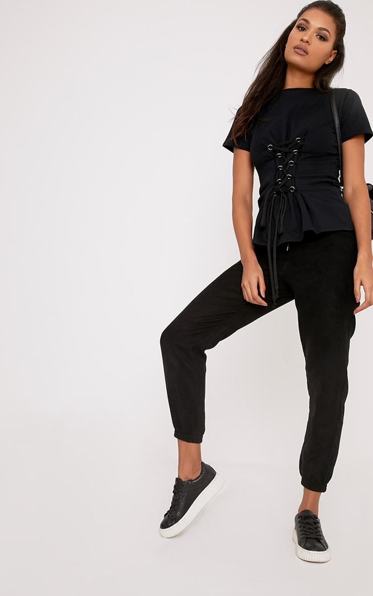 Sahara Black Corset Detail Short Sleeve Sweater 4