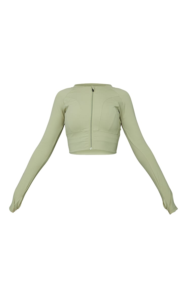 Green  Zip Up Cropped Sports Jacket 5