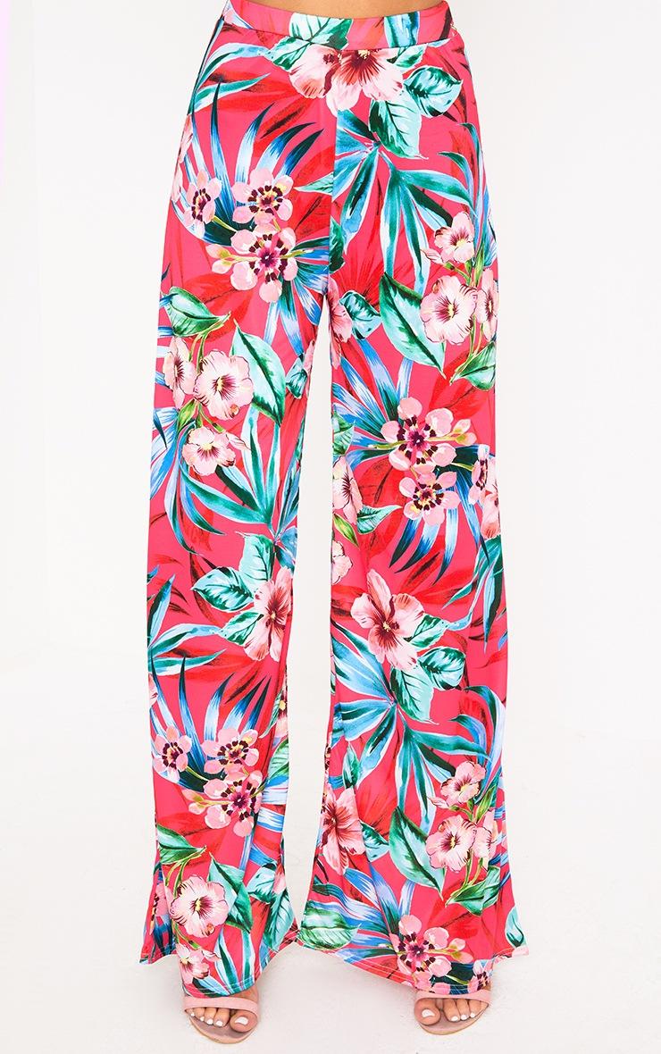 Fuchsia Tropical Floral Print Wide Leg Trousers 4