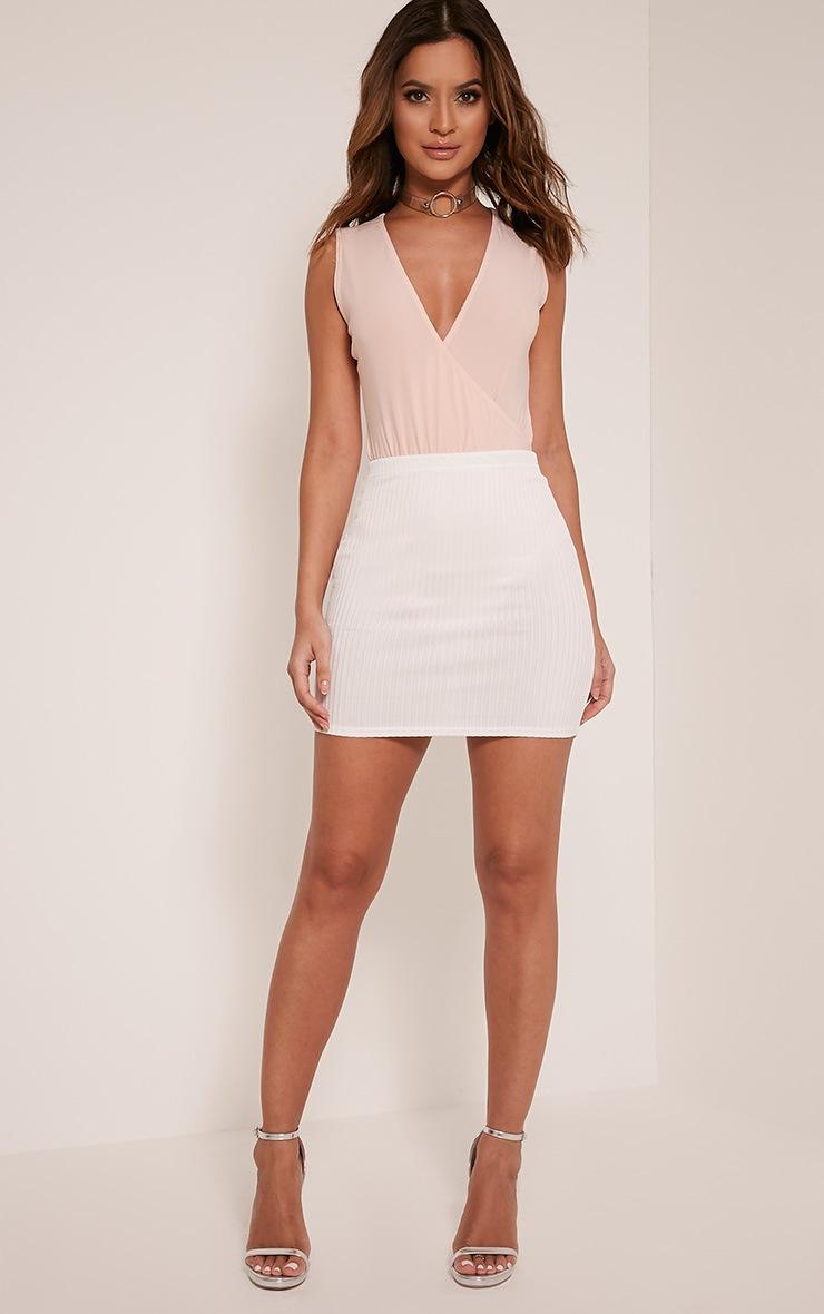 Kristine Cream Ribbed Mini Skirt 5