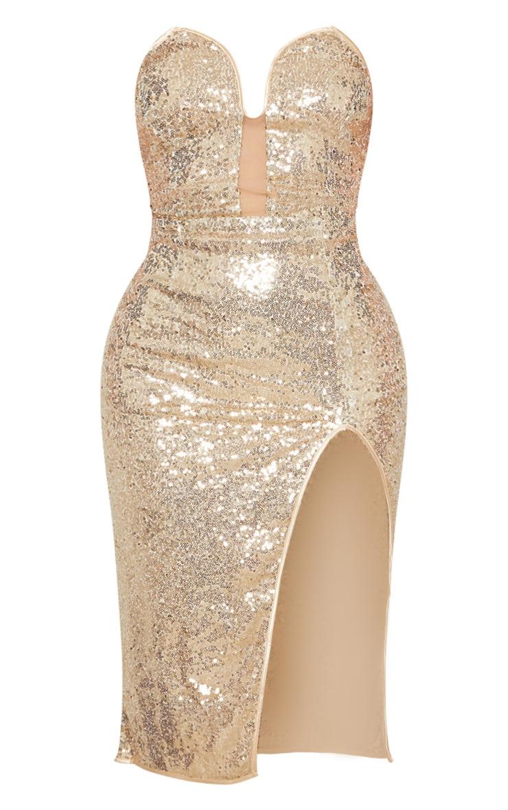 Gold Sequin V Bar Extreme Split Midi Dress 3