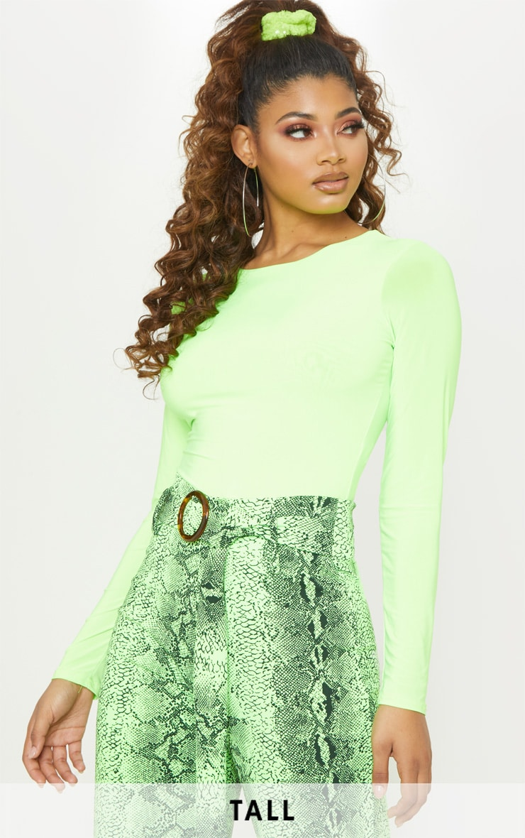 Tall Neon Lime Slinky Long Sleeve Bodysuit 1