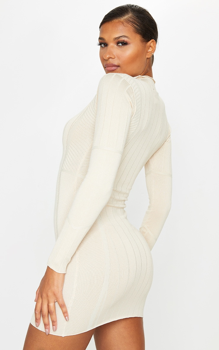 Stone Ribbed Zipped Knitted Mini Dress 2