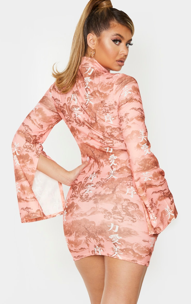 Rose Oriental Print High Neck Flared Sleeve Bodycon Dress 2