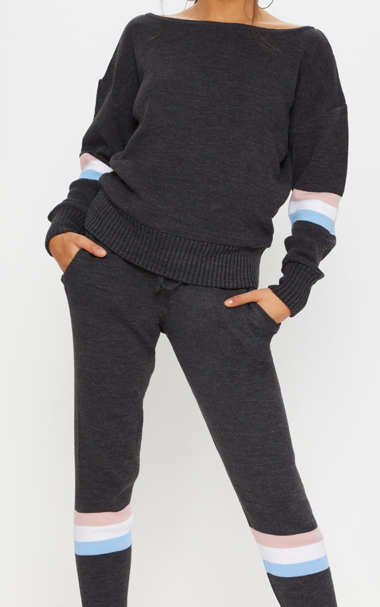 Charcoal Stripe Detail Knitted Jogger Lounge Set 5