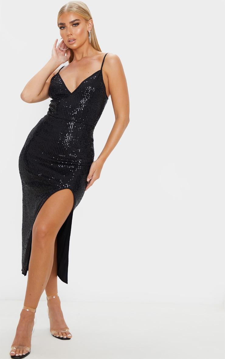 black-sequin-split-midi-dress by prettylittlething