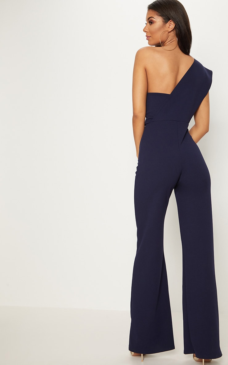 Navy Drape One Shoulder Jumpsuit 2