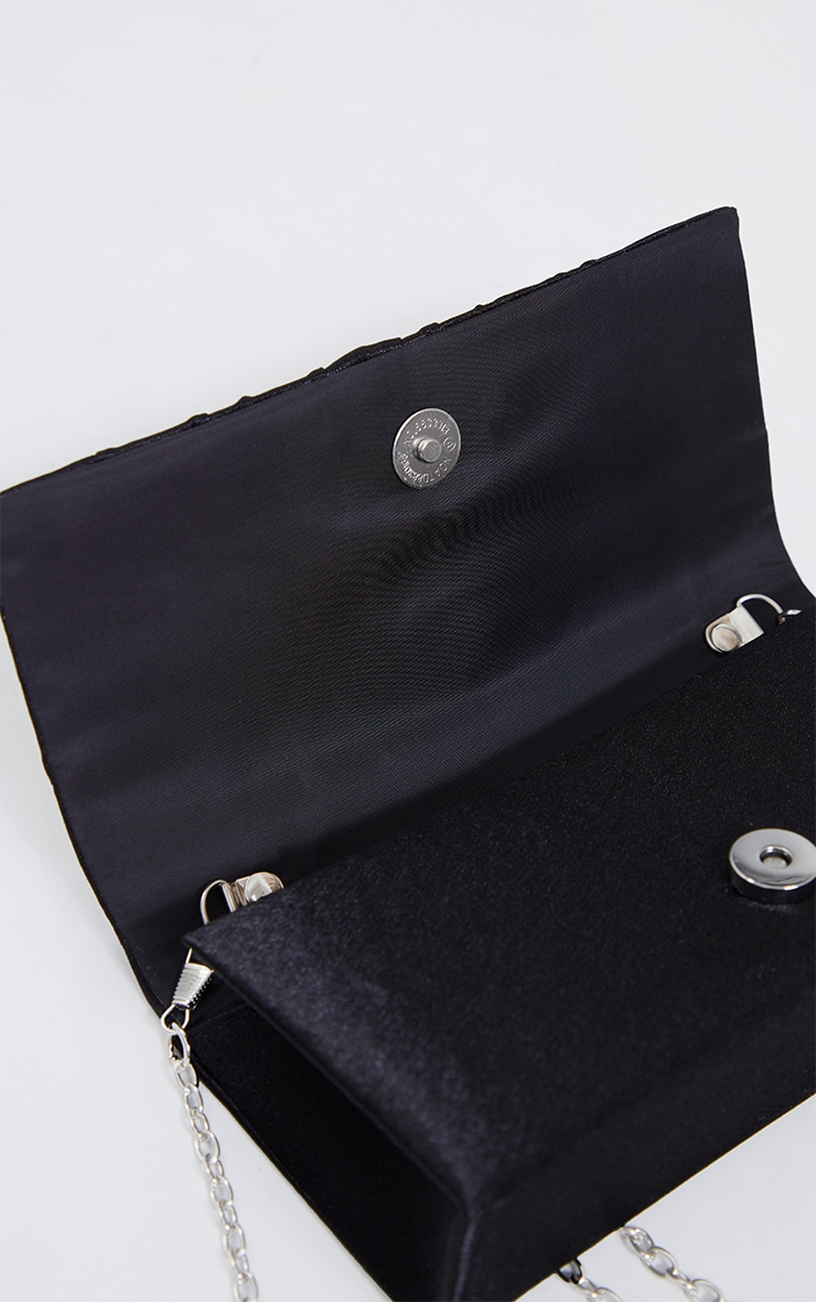 Black Satin Ruched Knot Clutch 4