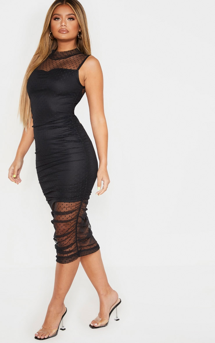 Black Dobby Mesh Ruched Midi Dress 1