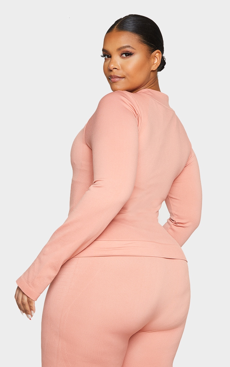 Plus Pink Seamless Rib Detail Jacket 2