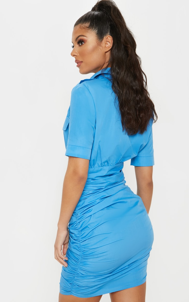Bright Blue Short Sleeve Ruched Detail Shirt Dress 2