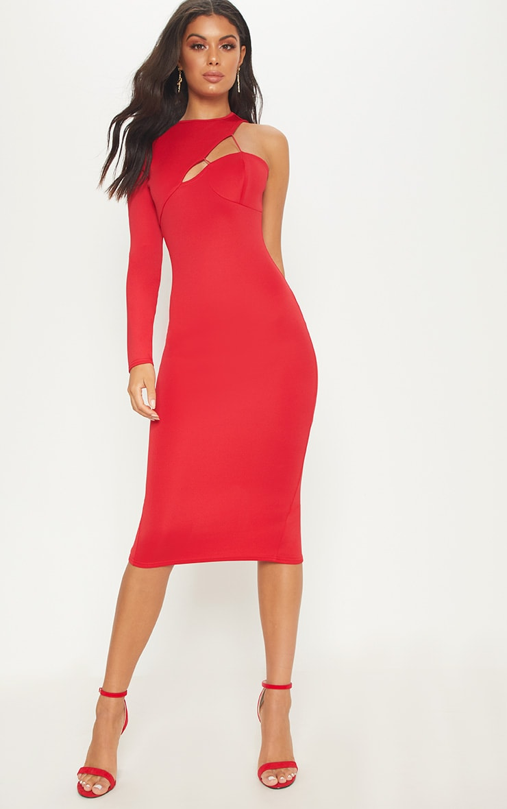 Red Asymmetric Sleeve Midi Dress 1