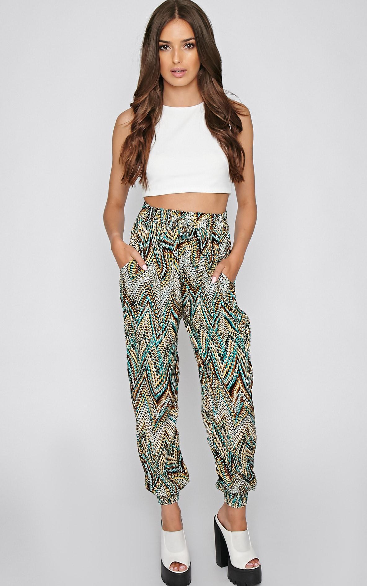 Nahla Green Print Harem Trouser 1