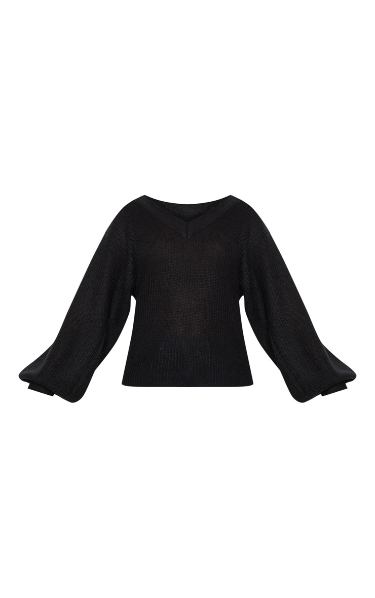 Black Balloon Sleeve Ribbed Knitted Jumper  3